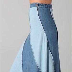 FREE PEOPLE Contrast Denim Maxi Skirt $168